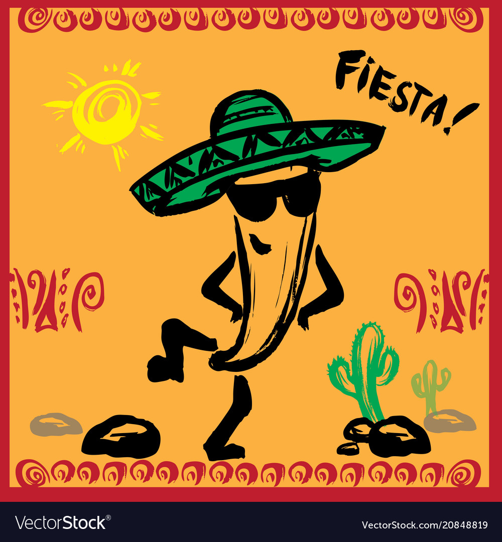 Mexican fiesta party invitation with dancin vector image