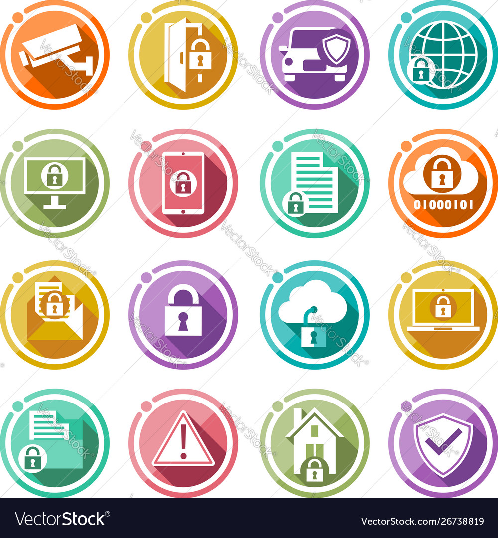 Security icons set flat icons for your business