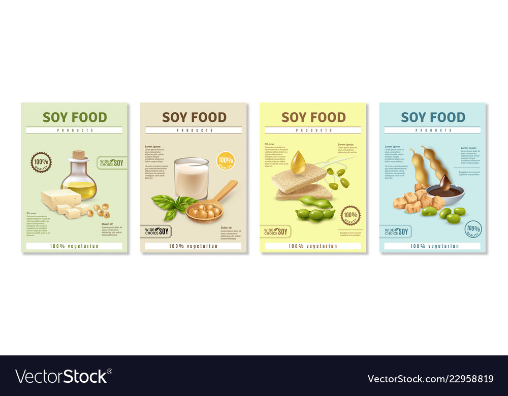 soy food posters set royalty free vector image
