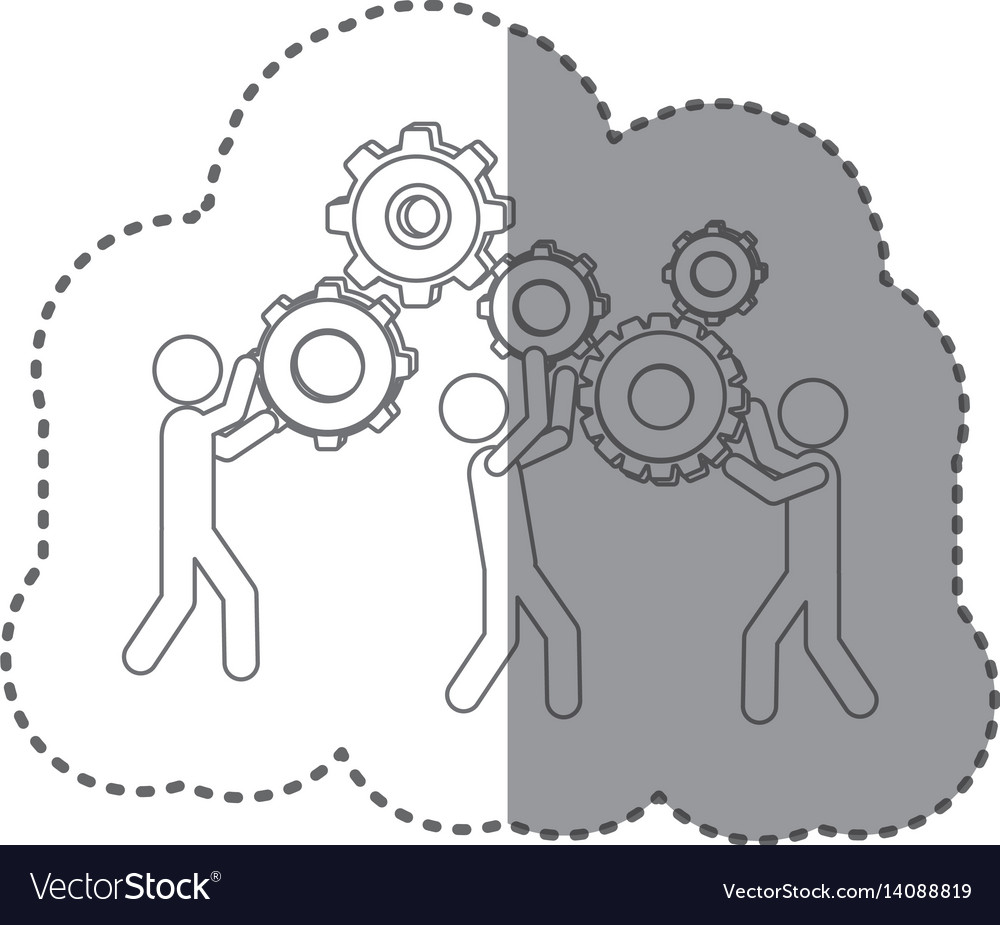 Sticker silhouette pictogram people and industry vector image