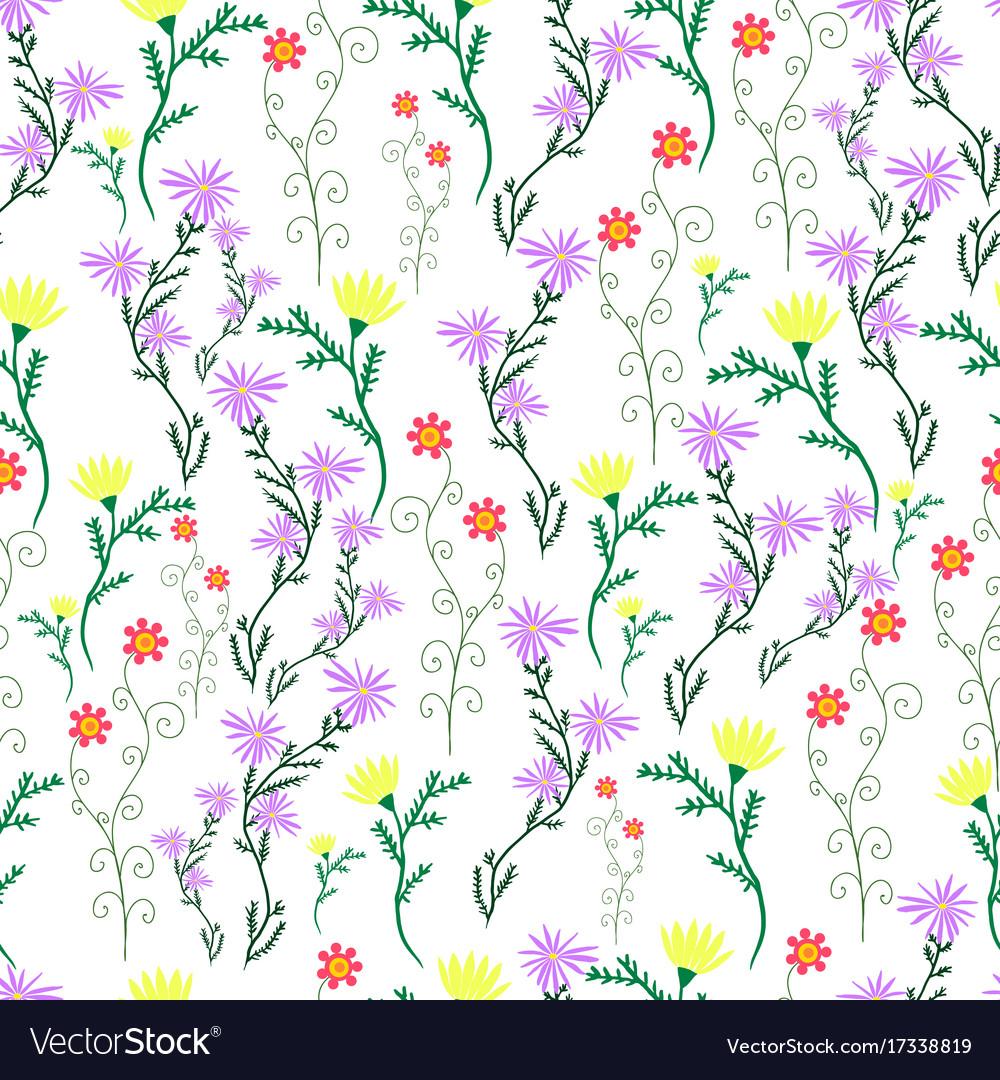 Summer delicate wild flowers pastel color vector image