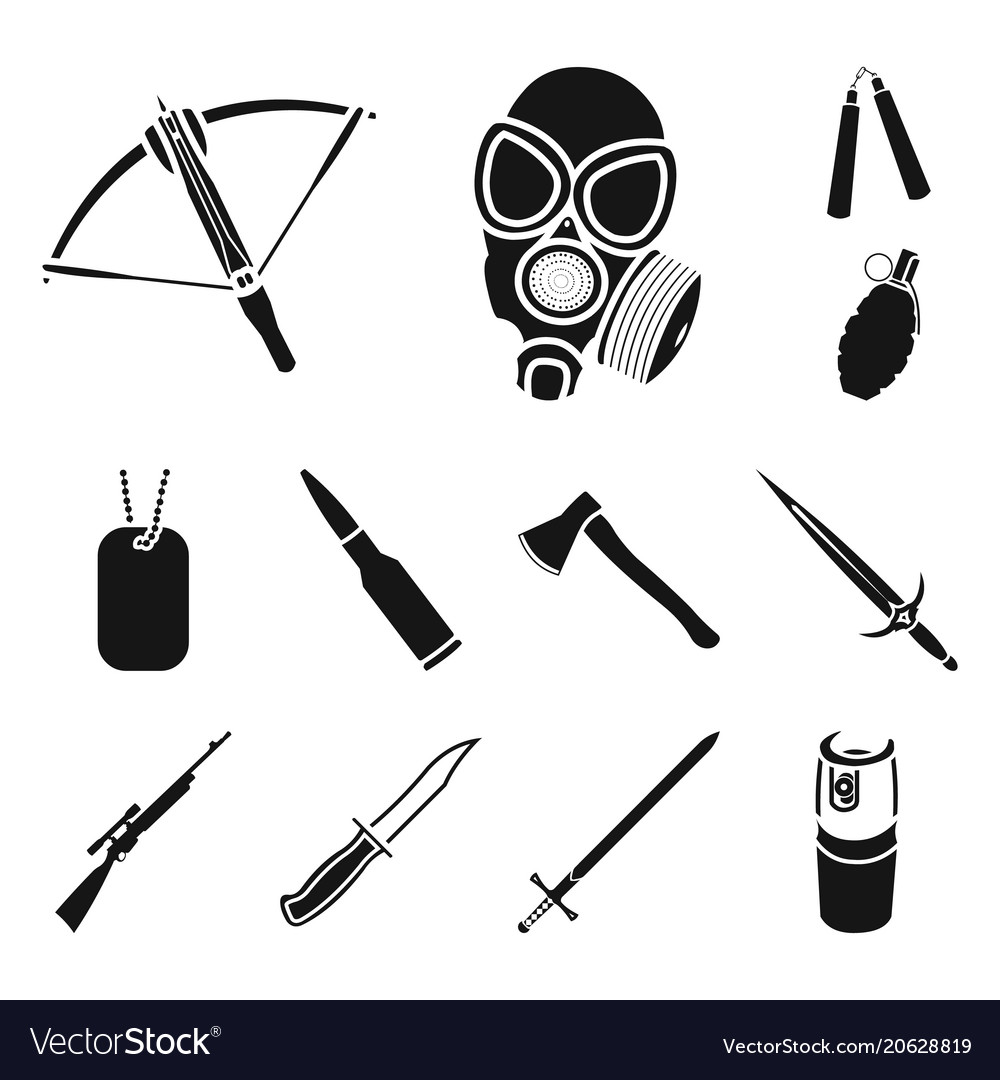 Types weapons black icons in set collection