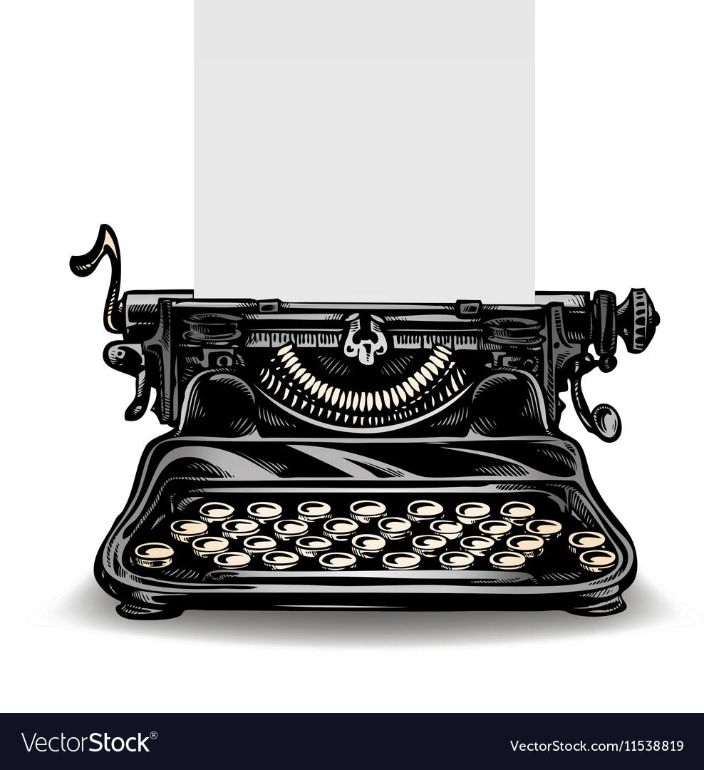 Vintage typewriter isolated on white background vector image