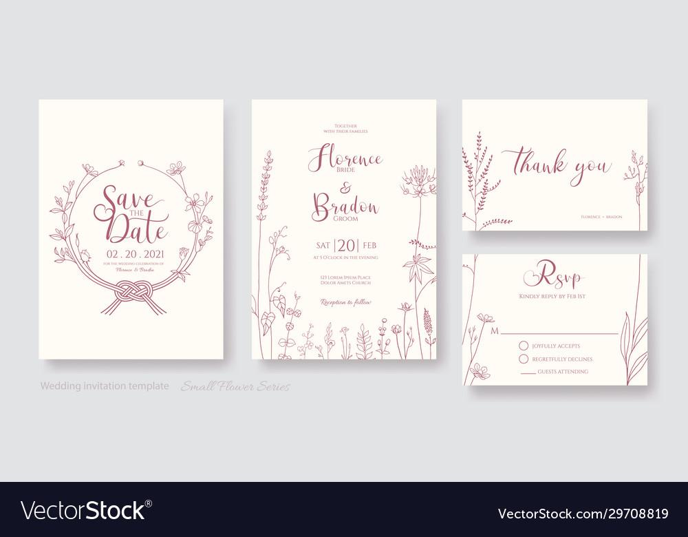 Wedding invitation card save date rsvp