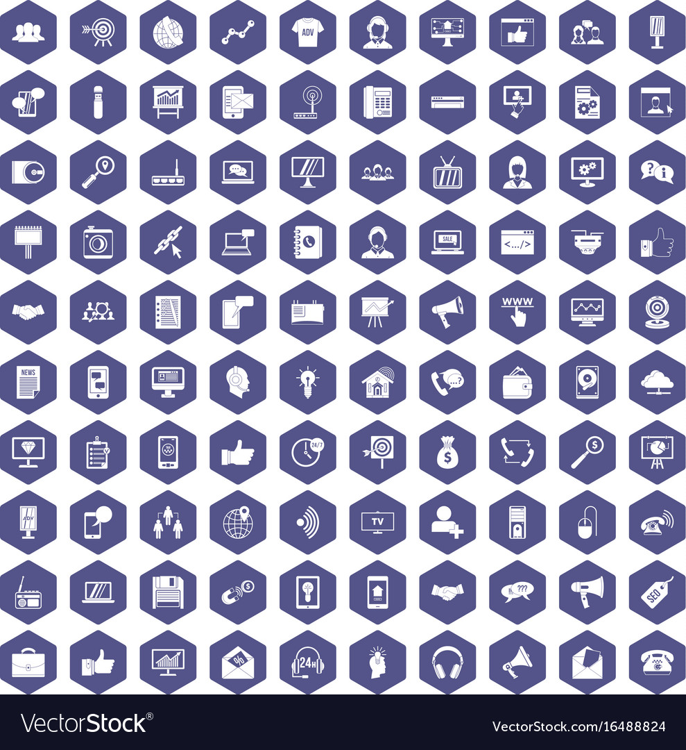 100 help desk icons hexagon purple