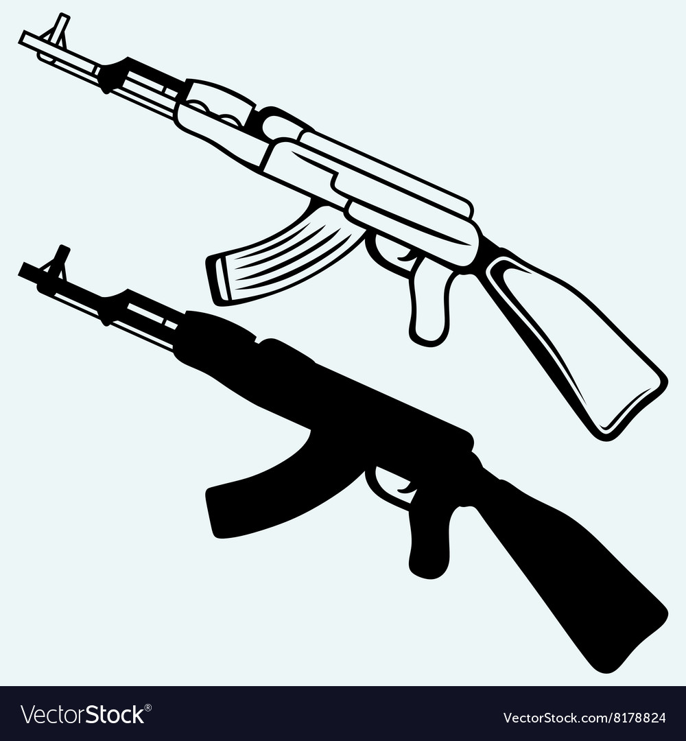 assault rifle ak47 royalty free vector image vectorstock rh vectorstock com ak47 vector png ak 47 vector art