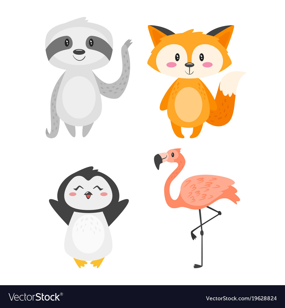 Cartoon Cute Animals Royalty Free Vector Image