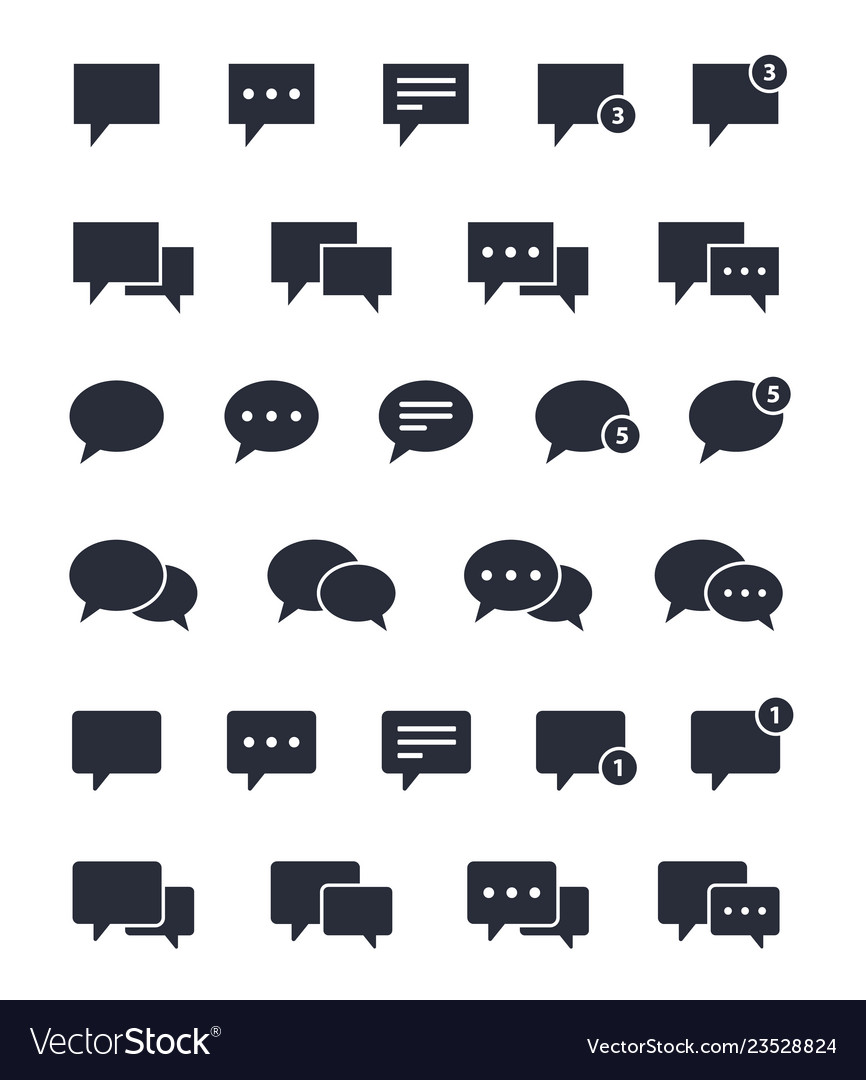 Chat speech bubble icons set message signs