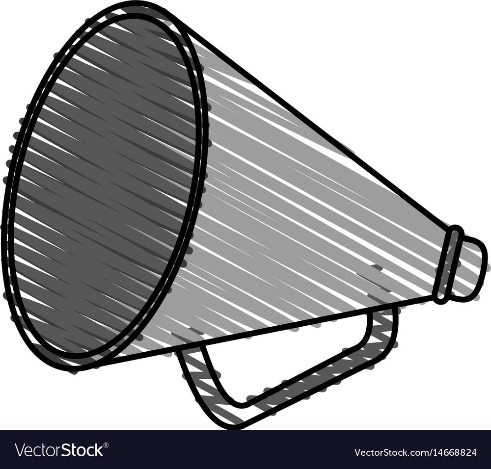 Color crayon stripe image cartoon megaphone flat