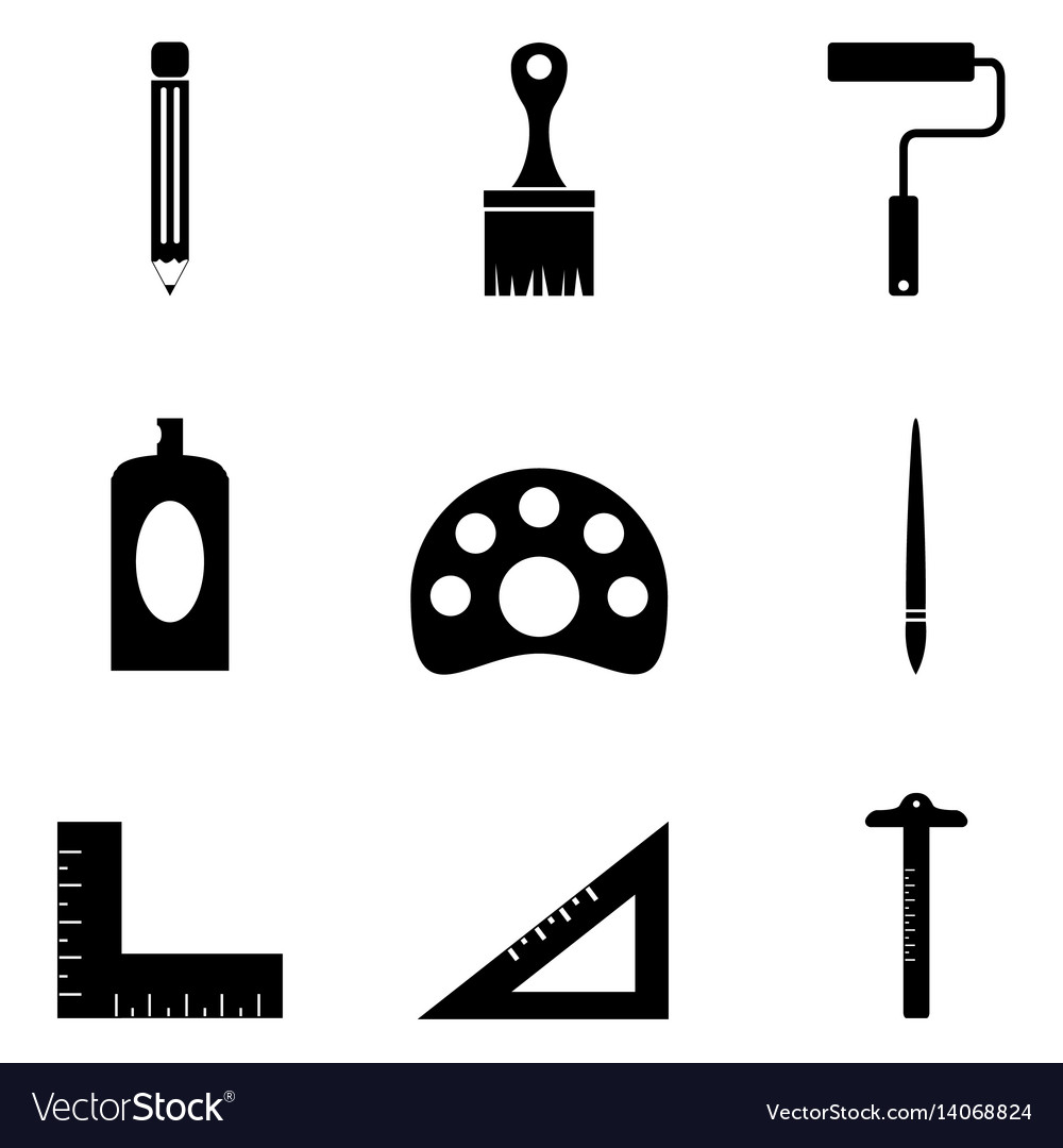 Drawing and painting icons set