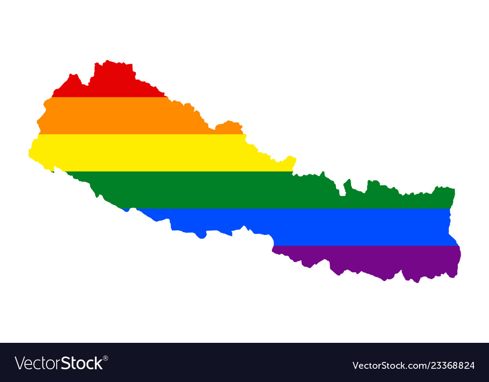 Lgbt flag map of nepal rainbow map of nepal in Vector Image
