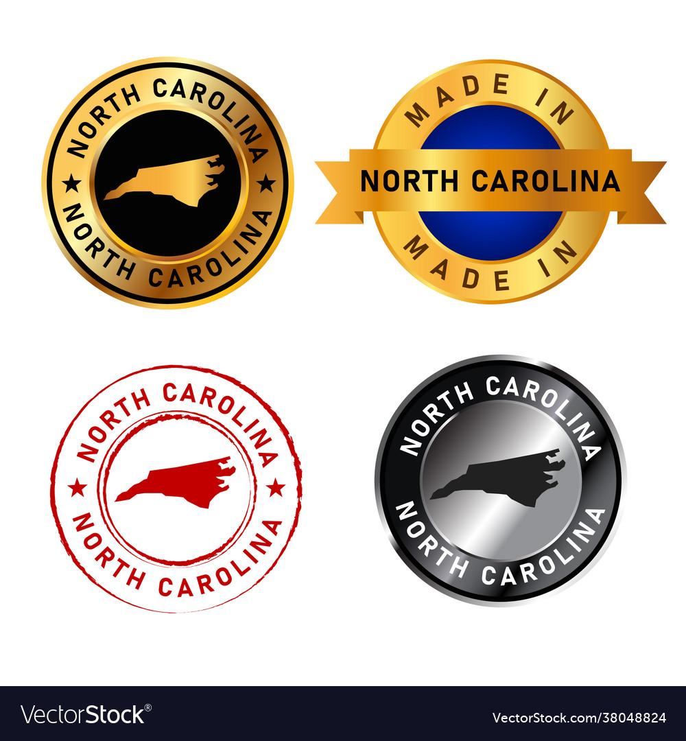North carolina badges gold stamp rubber band