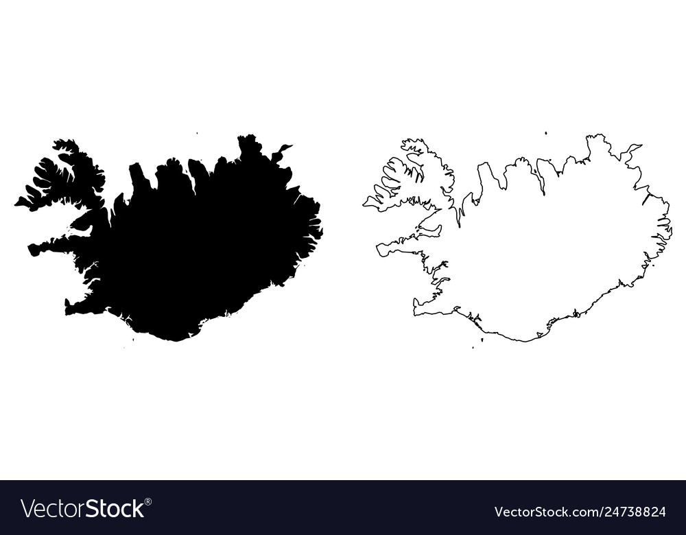 Simple only sharp corners map iceland drawing