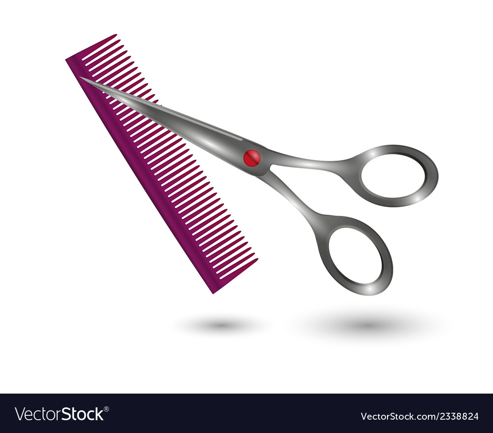 small comb and scissors royalty free vector image