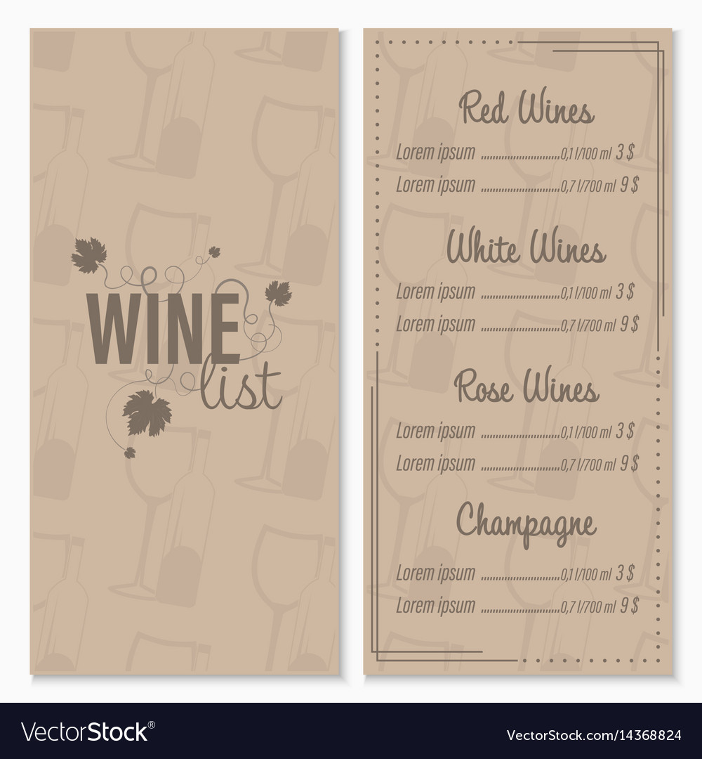Wine list menu card design template with glasses
