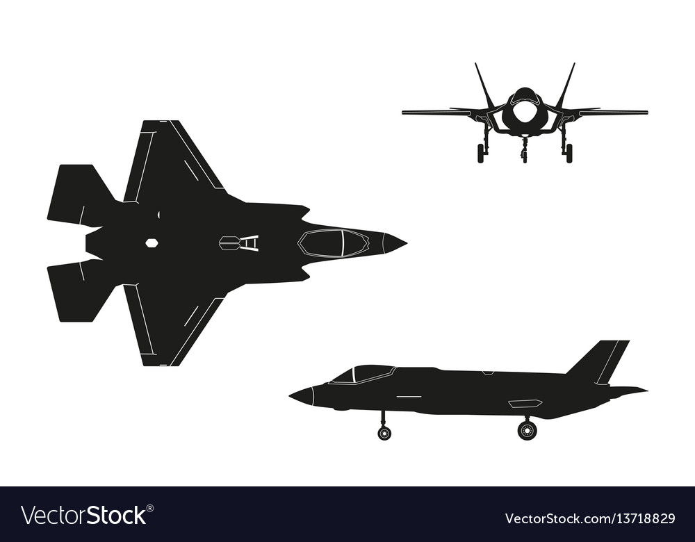 Black silhouette of military aircraft