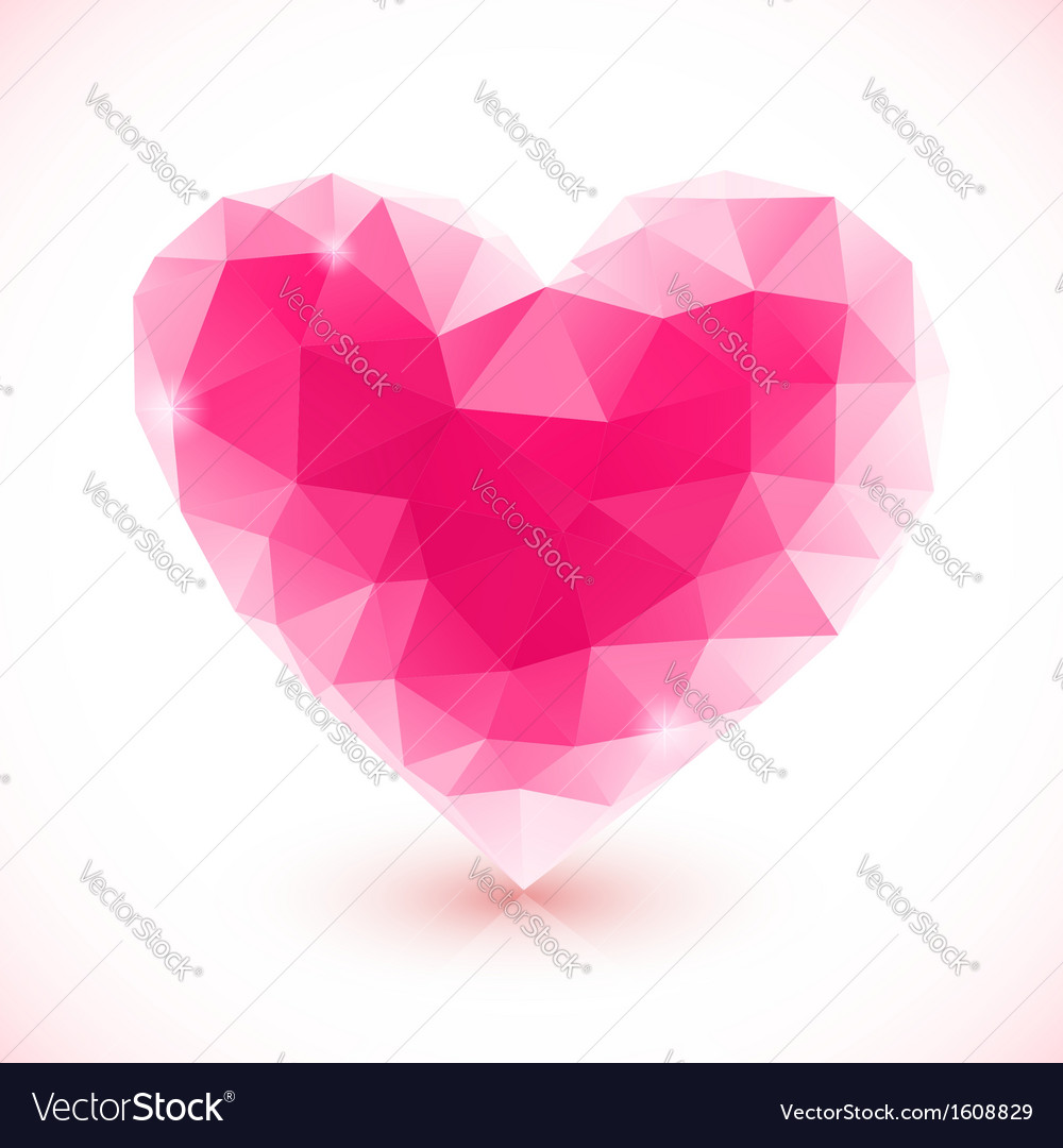 Bright pink crystal isolated heart
