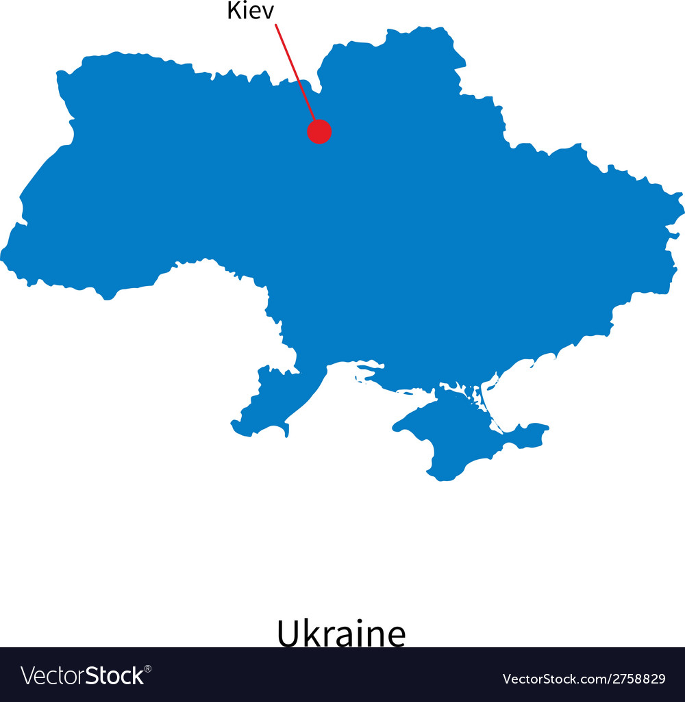 Detailed map of Ukraine and capital city Kiev vector image