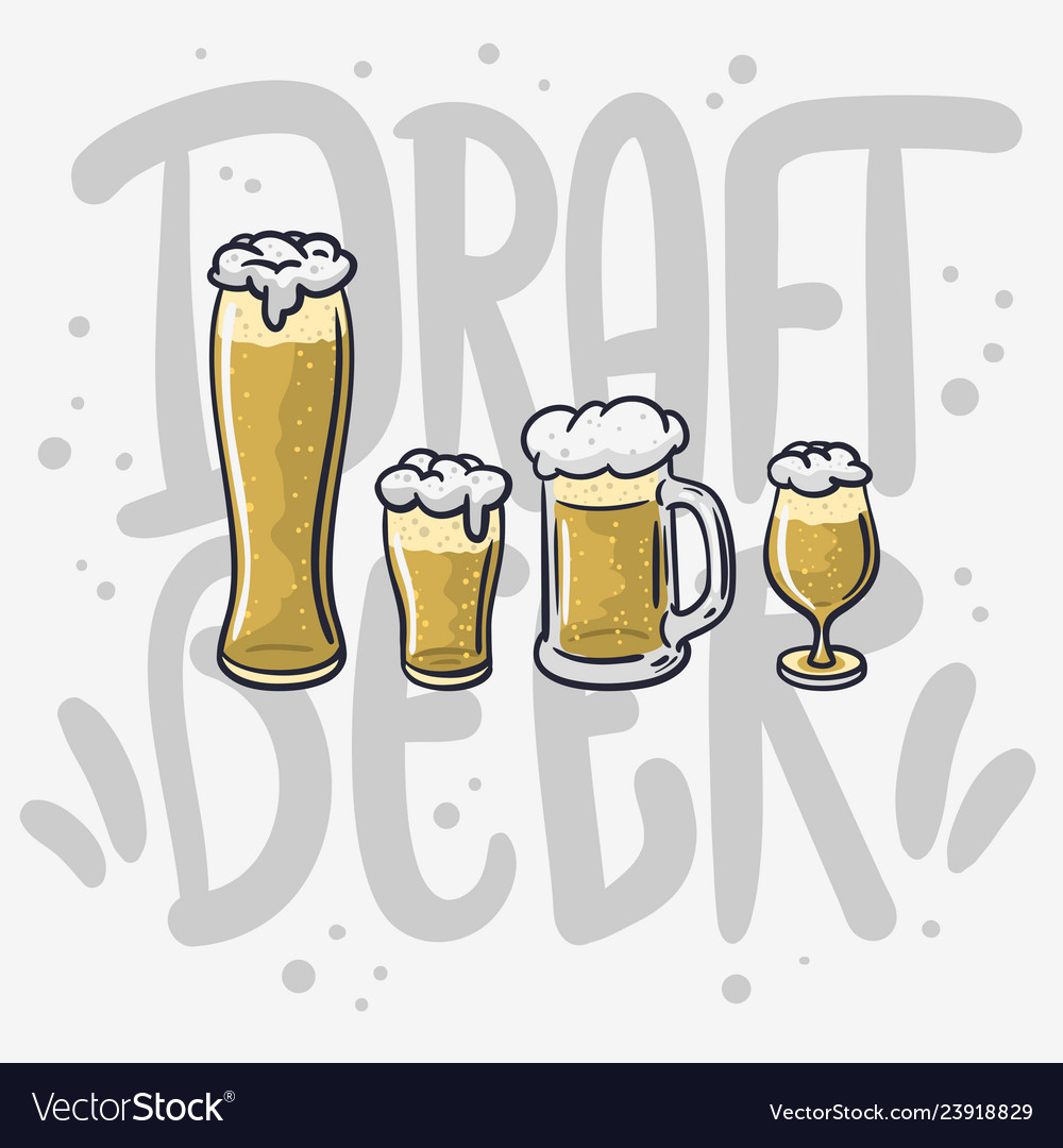 Draft beer hand drawn design different