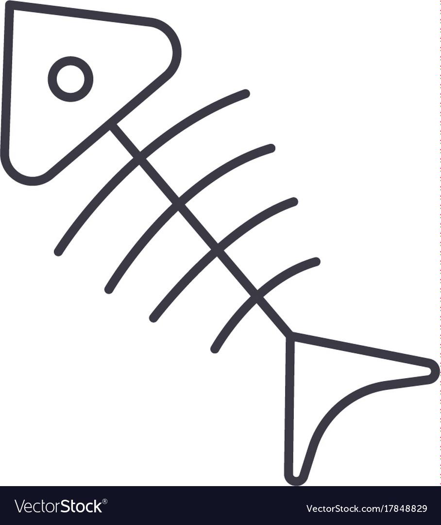 Fish skeleton line icon sign
