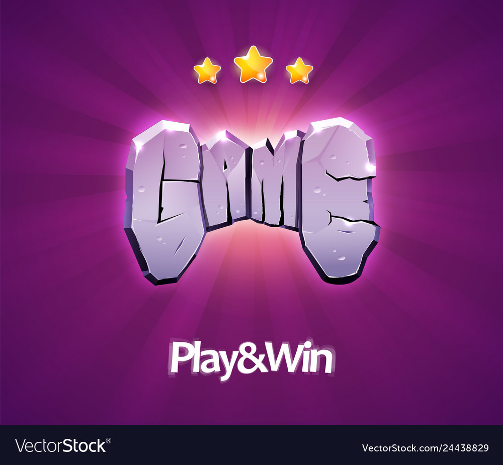 Gaming icon word game with stone texture