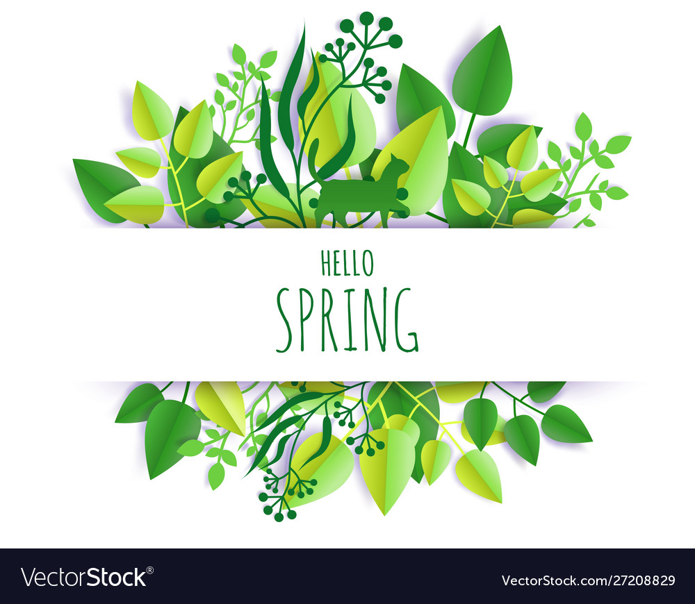 Hello spring card hand lettering typography