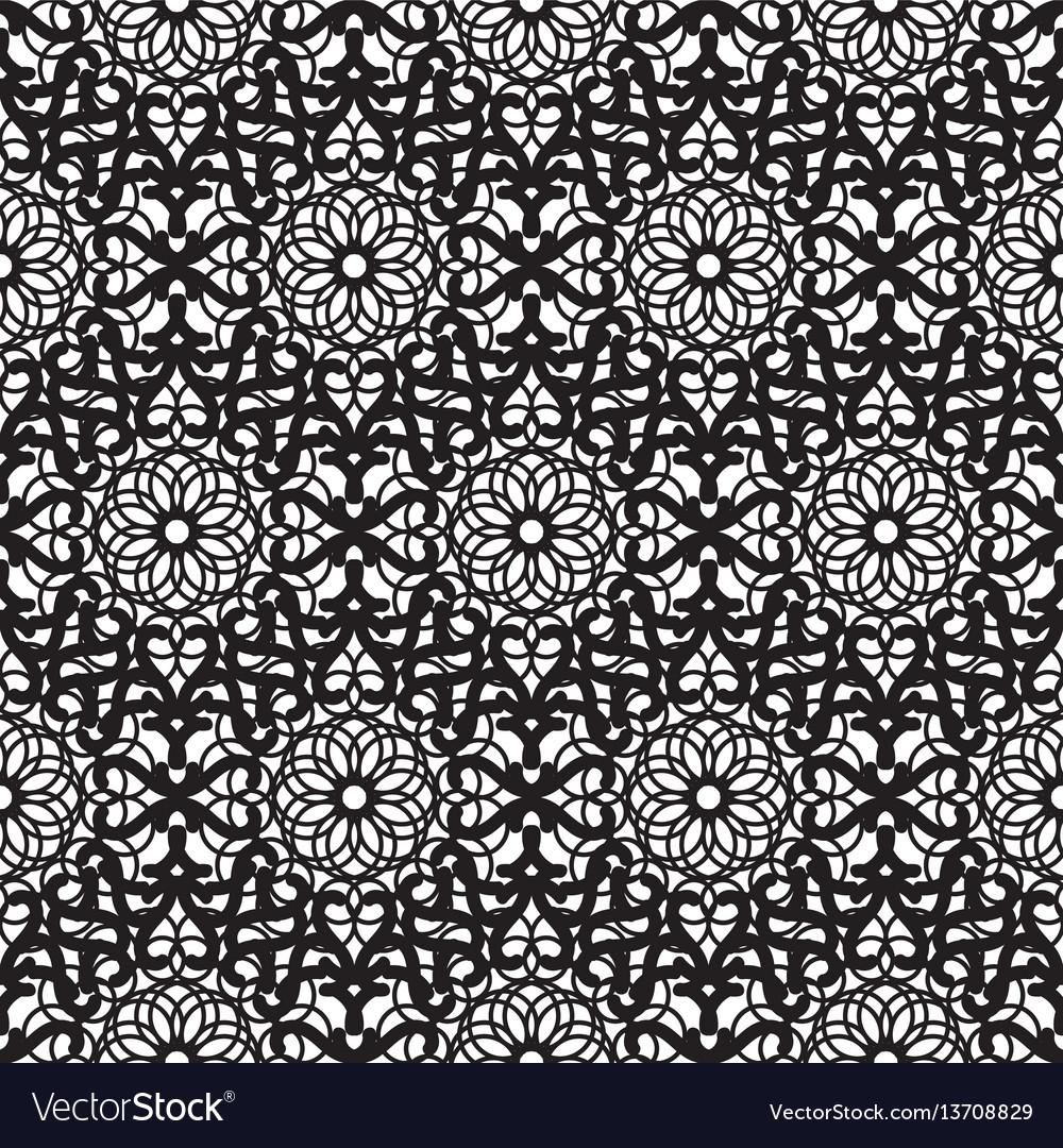 Mandala lace dense black seamless pattern