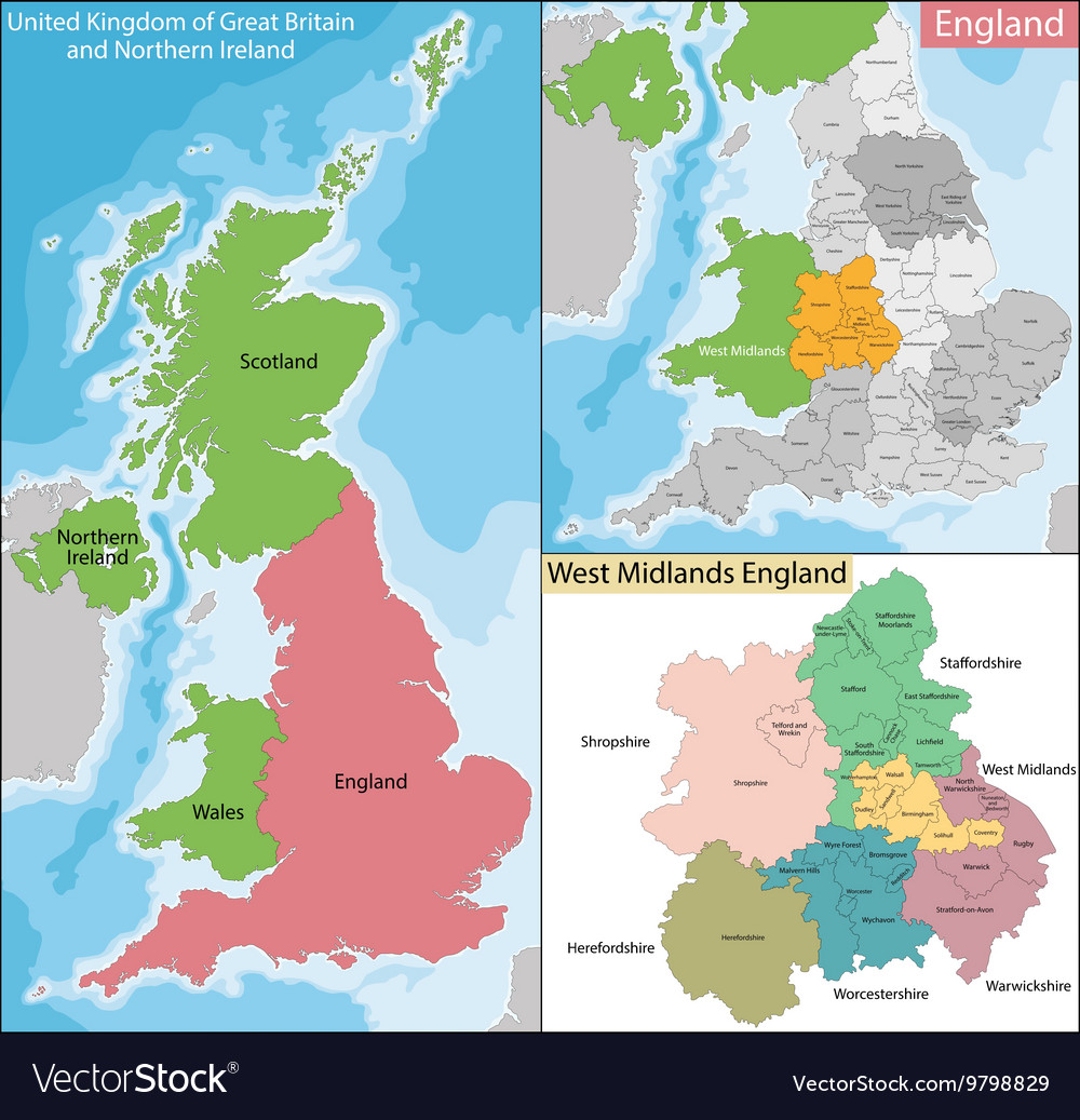 Map Of Midlands Map of West Midlands England Royalty Free Vector Image