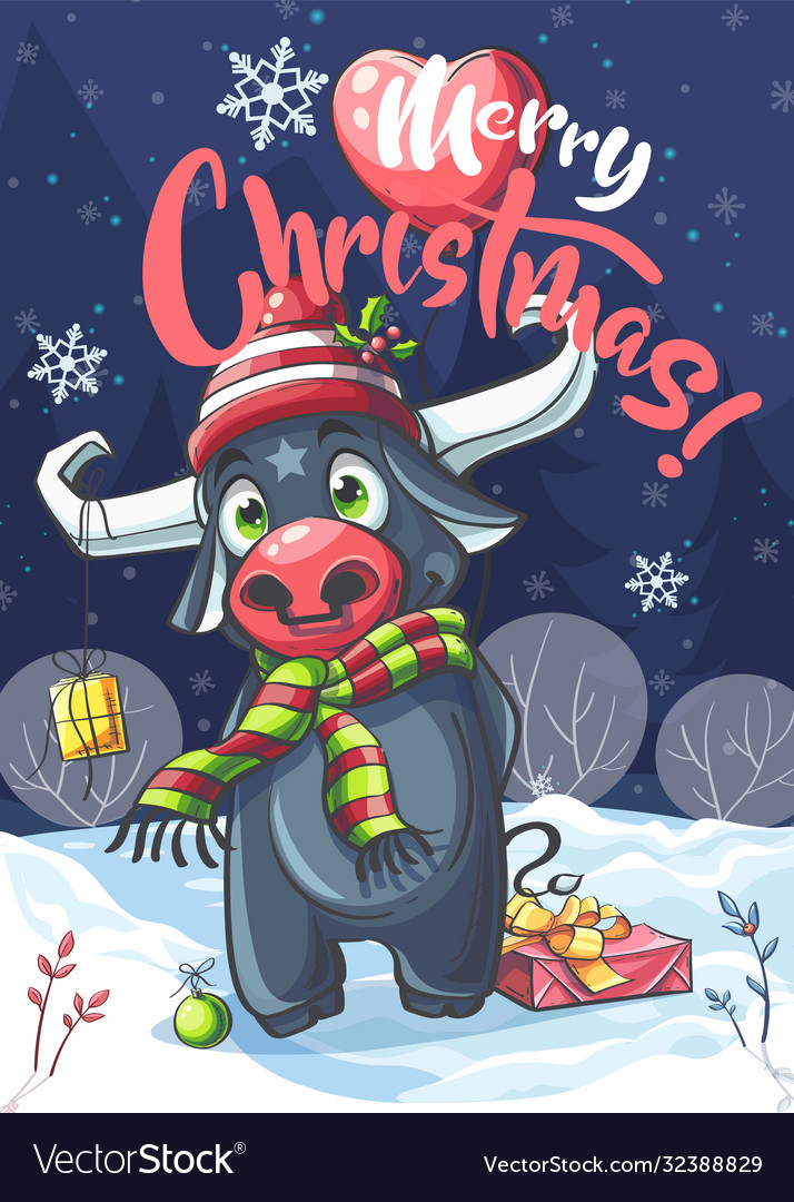 Marry christmas bull in night