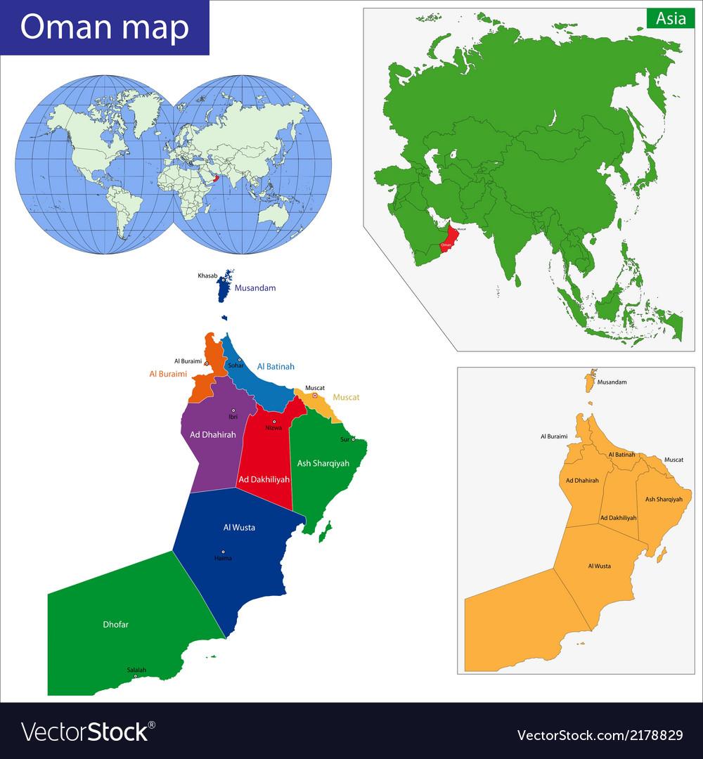Oman map Royalty Free Vector Image VectorStock