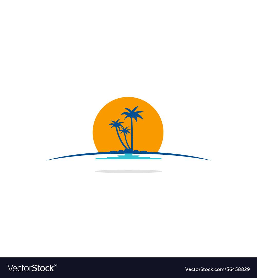 Palm tree beach tropic logo