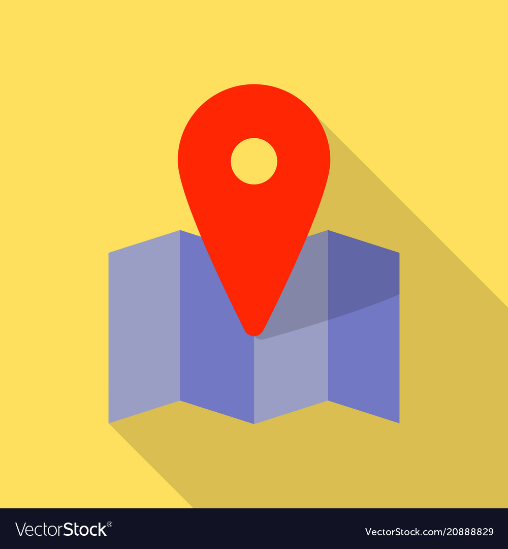 Red pin on purple map icon flat style