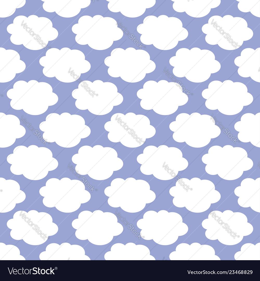 White clouds weather art seamless pattern