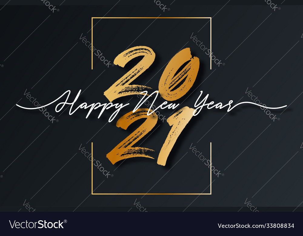 2021 new year script text with frame christmas