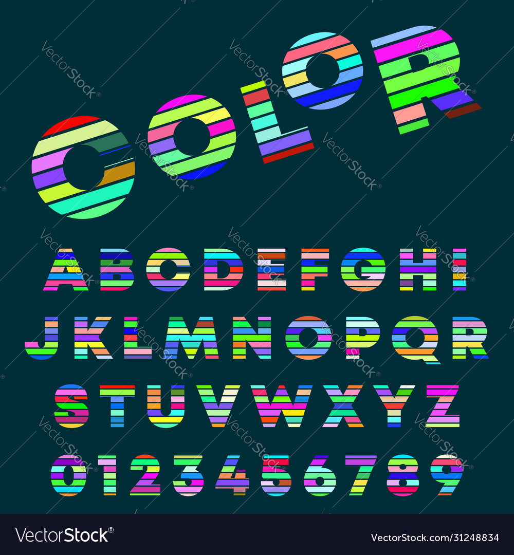 Alphabet letters and numbers color design