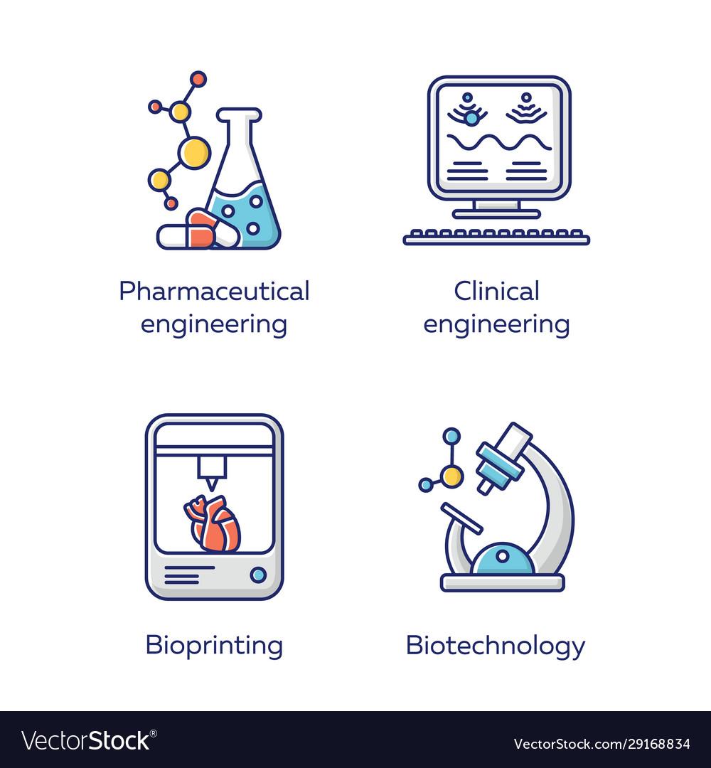 Bioengineering color icons set medical