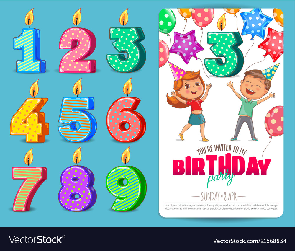 Birthday numbers candle with cute kids birthday