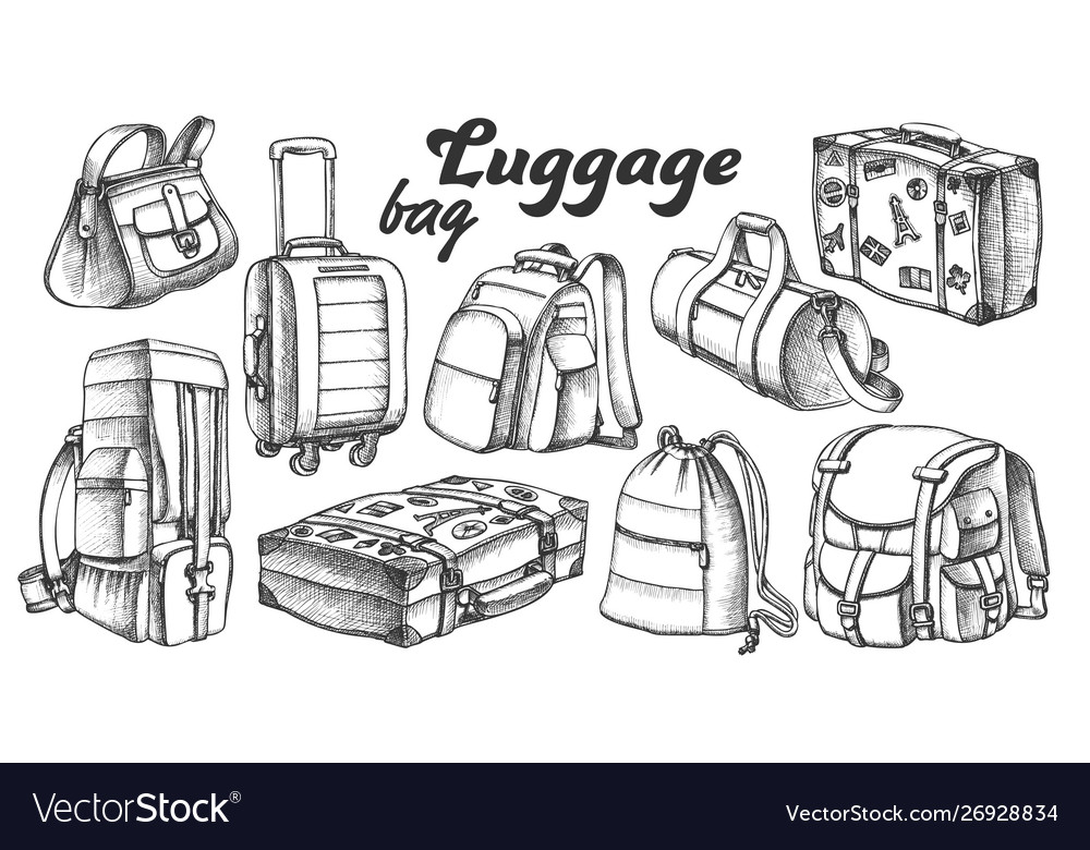 Collection of different luggage ink set