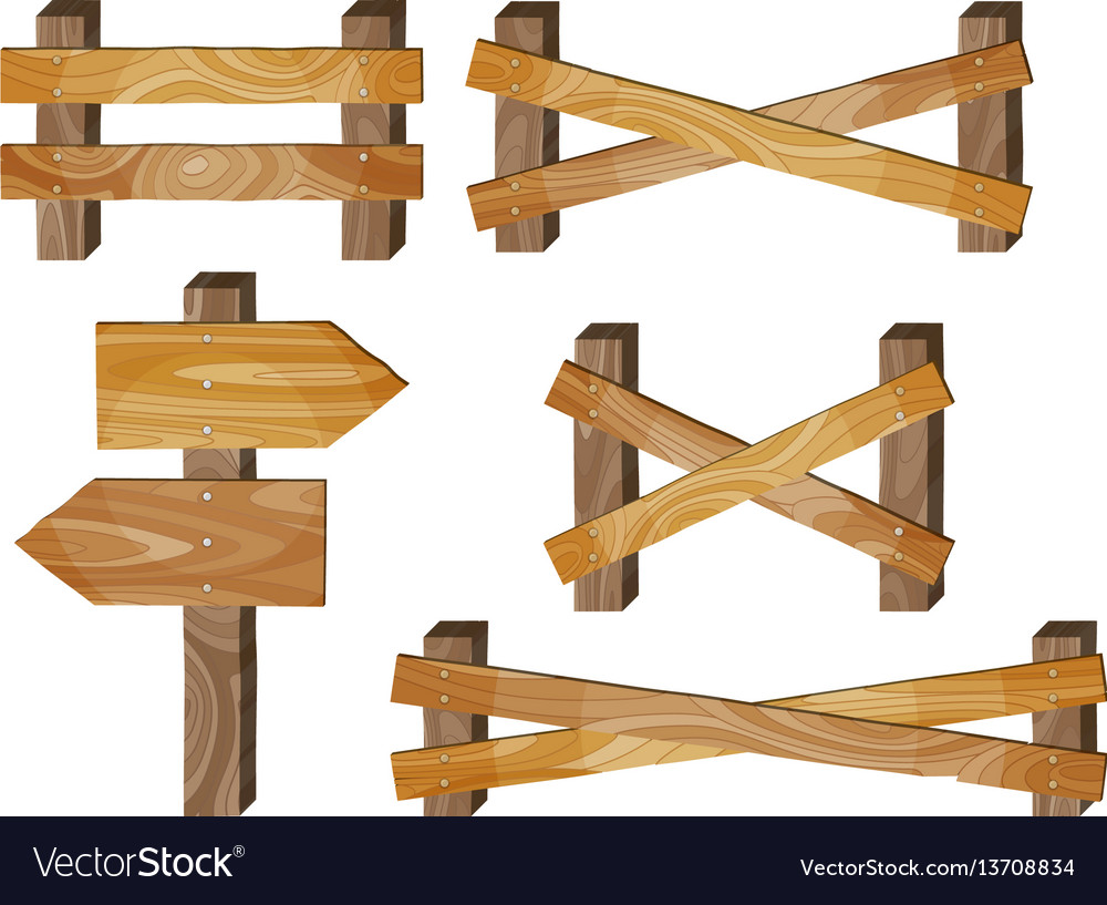 Fence wooden signboards arrow sign barrage vector image
