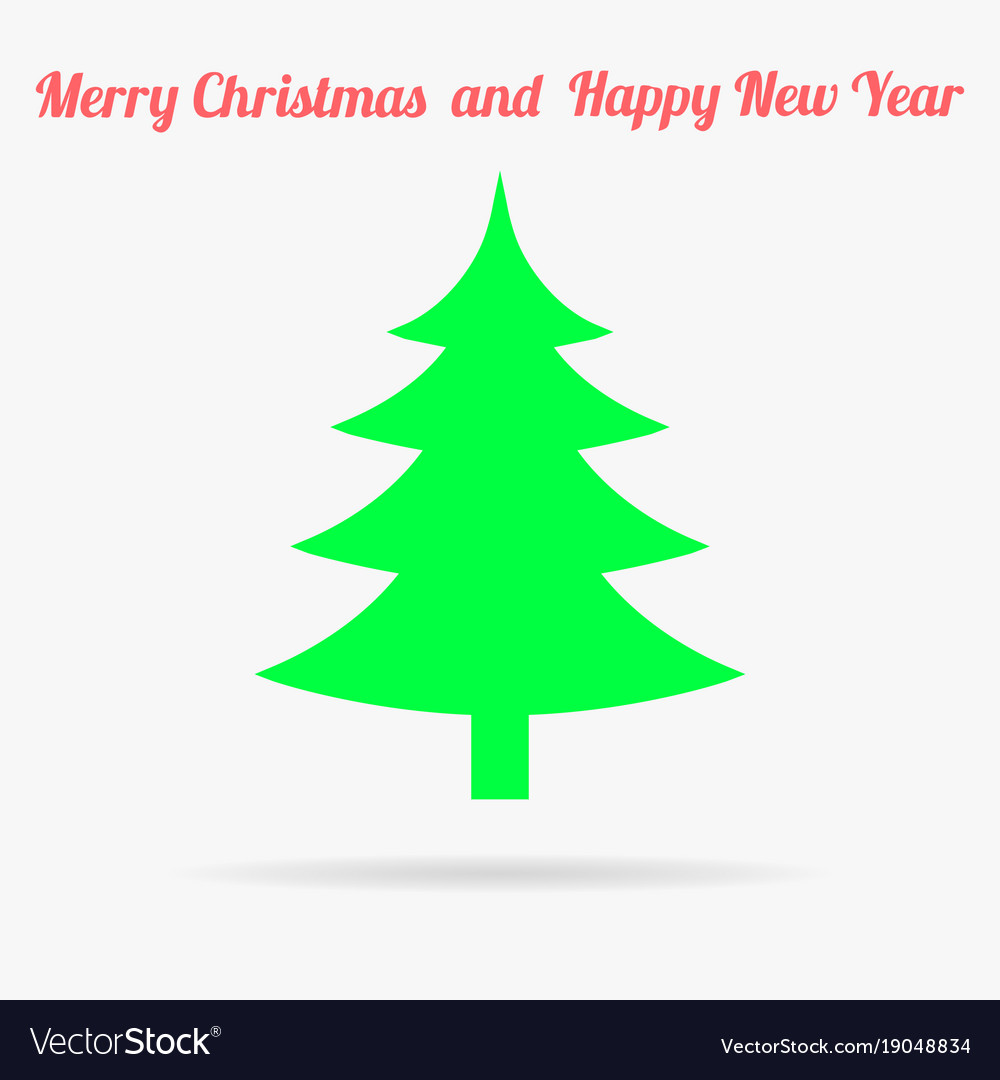 Gren christmas tree flat icon vector image