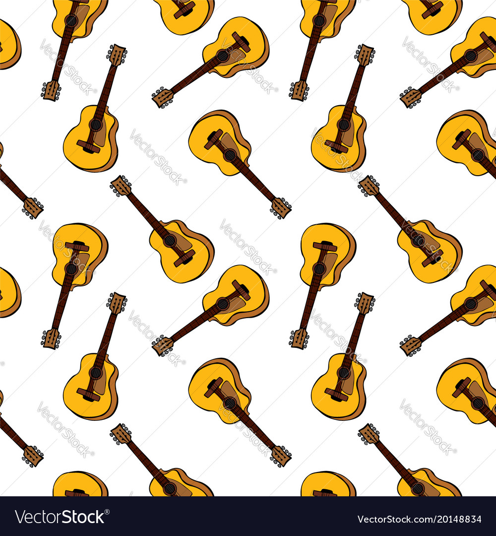 Hand-drawn brown classic guitar seamless pattern