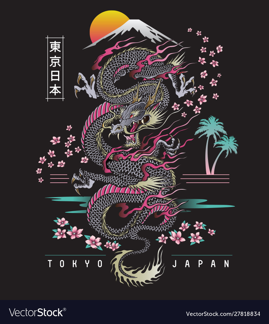 Highly detailed dragon with japanese background