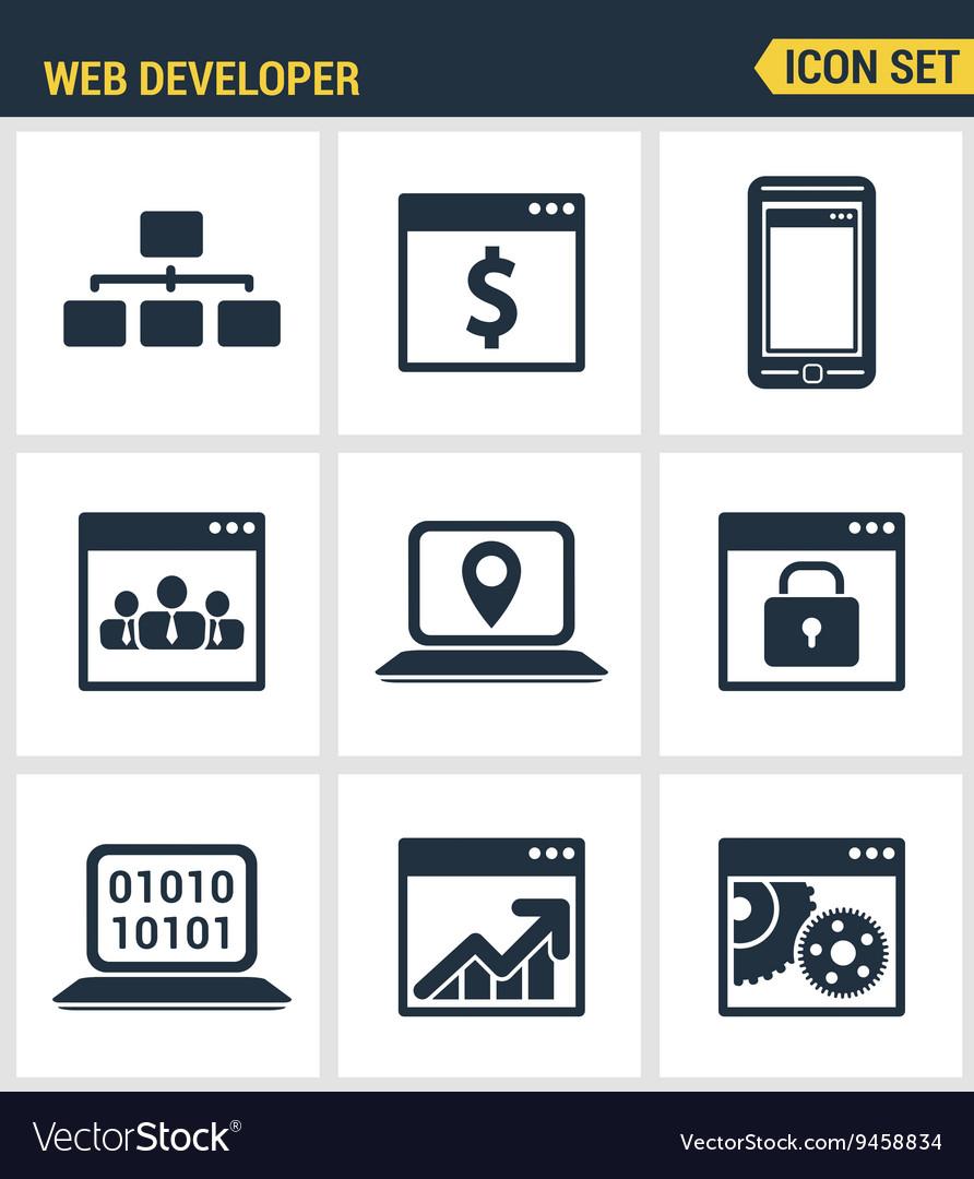 Icons set premium quality of adaptive website