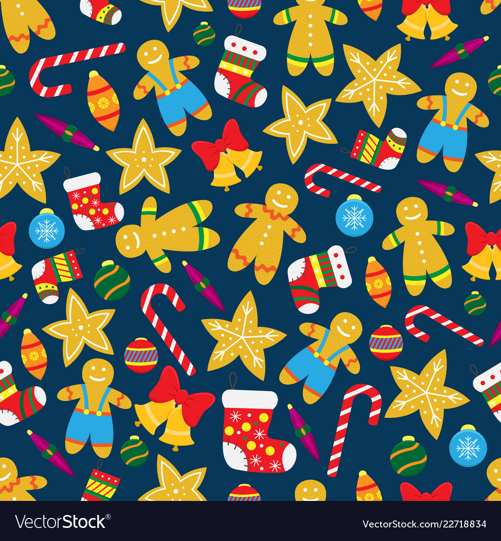 Seamless christmas pattern with gingerbread