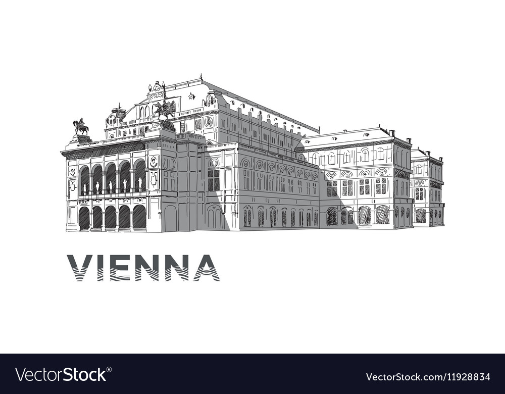 The sketch of State Opera House in Vienna vector image