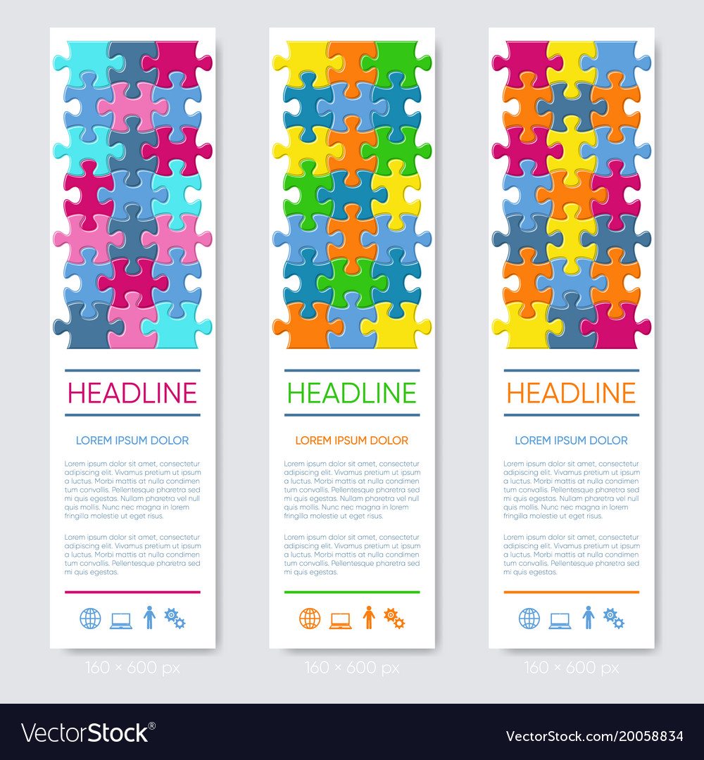 Vertical jigsaw puzzle banners