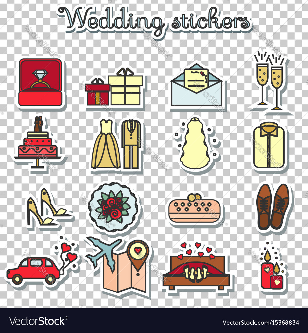 Wedding stickers marriage engagement honeymoon