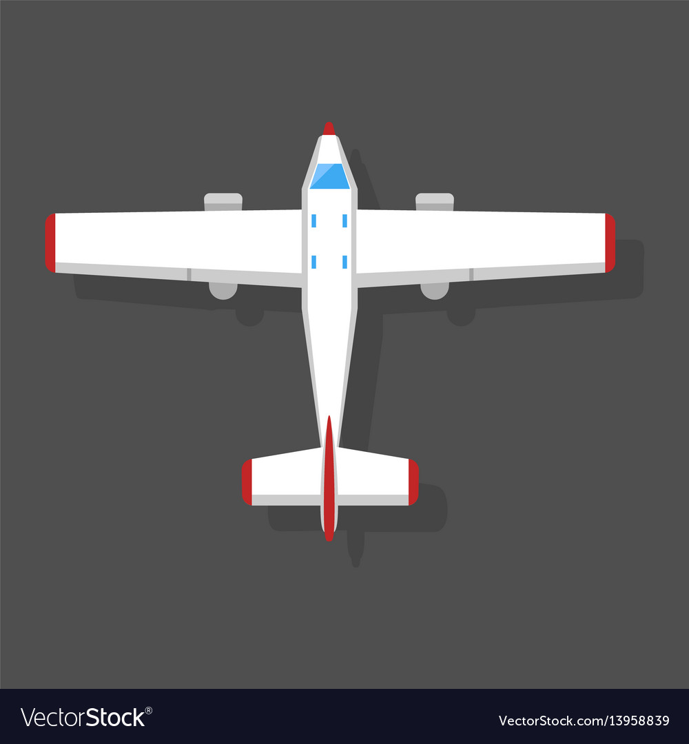 Airplane top view and aircraft