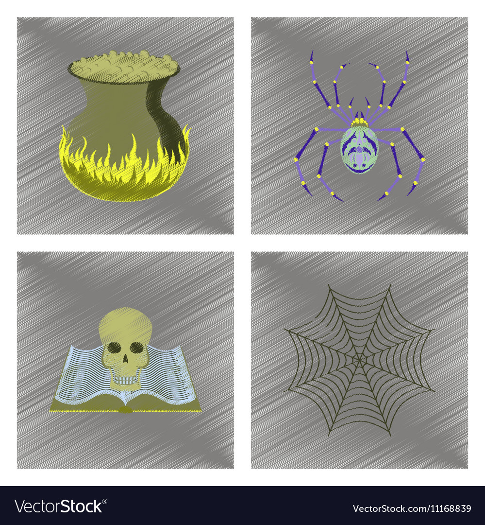Assembly flat shading style icon ghost spider book