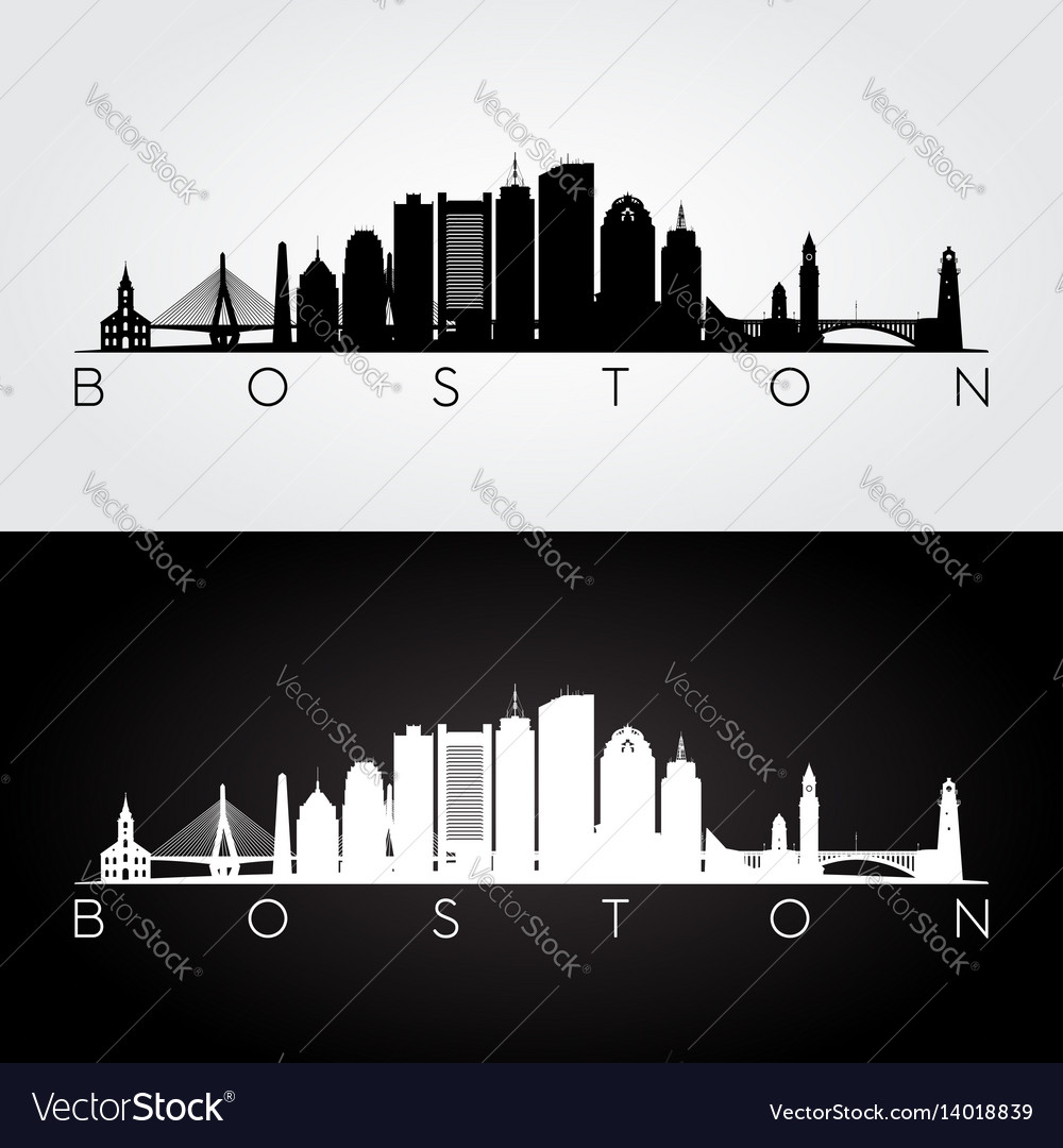 Boston usa skyline and landmarks silhouette